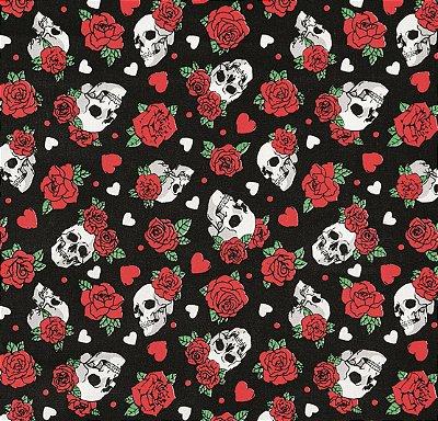 Tecido Tricoline Caveira e Rosas - Fundo Preto - Preço de 50cm x 150cm