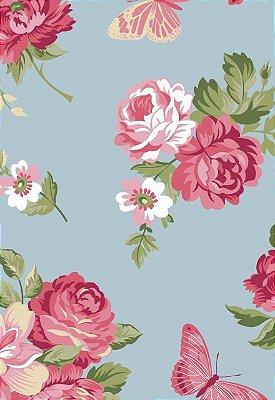 Tecido Tricoline Estampa Floral e Borboletas - Fundo Azul Claro - Preço de 50cm x 146cm