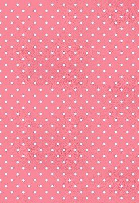 Tecido Tricoline Estampa Poá Pequeno Branco - Fundo Rosa - Preço de 50cm x 146cm
