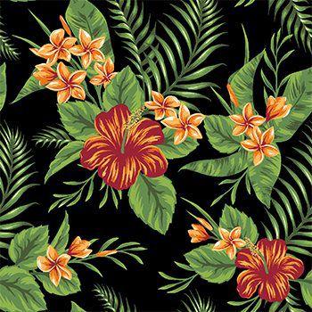 Tecido Tricoline Folhagens e Flor de Hibisco - Fundo Preto - Coleção Paraíso Tropical - Preço de 45 cm x 150 cm