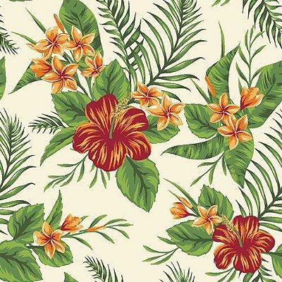 Tecido Tricoline Folhagens e Flor de Hibisco - Fundo Creme - Coleção Paraíso Tropical - Preço de 50 cm x 150 cm
