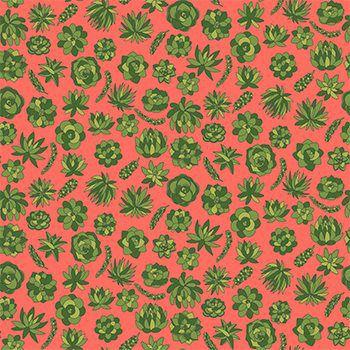 Tecido Tricoline Jardim de Suculentas - Fundo Coral - Coleção Suculentas - Preço de 50 cm x 150 cm