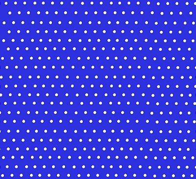 Tecido Tricoline com Poá Branco e Fundo Azul Royal - Preço de 50 cm X 150 cm