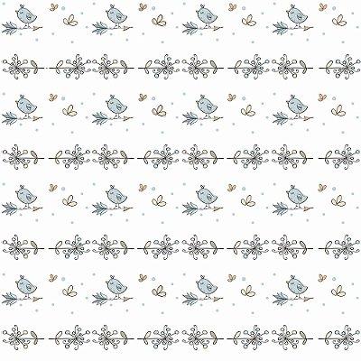 Tecido Tricoline Passarinho com Flecha - Fundo Branco - Coleção Animalistic - Preço de 50 cm x 150cm