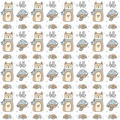 Tecido Tricoline Gato com Cogumelo - Fundo Branco - Coleção Animalistic - Preço de 50 cm x 150cm