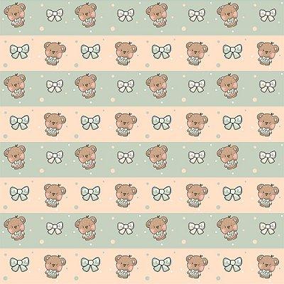 Tecido Tricoline Ursinho Barrado - Fundo Salmão e Verde - Coleção Animalistic - Preço de 50 cm x 150cm