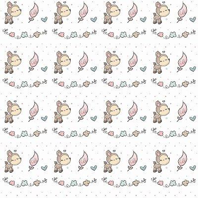 Tecido Tricoline Bambino com Folhas - Fundo Branco - Coleção Animalistic - Preço de 50 cm x 150cm
