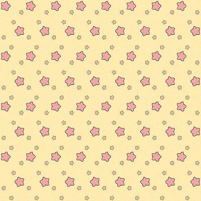 Tecido Tricoline Estrelas - Fundo Amarelo - Coleção Animalistic - Preço de 50 cm x 150cm