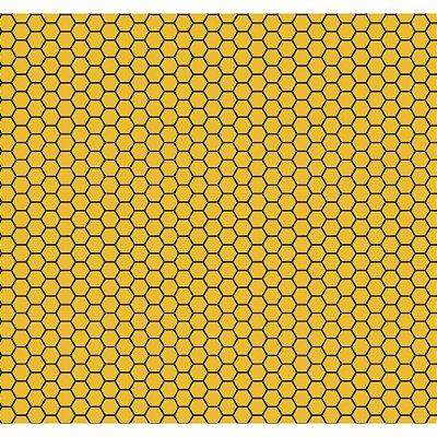 Tecido Tricoline Colmeia de Abelha - Fundo Mostarda - Coleção Bee Buzz - Preço de 50 cm x 150 cm