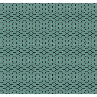 Tecido Tricoline Colmeia de Abelha - Fundo Jade - Coleção Bee Buzz - Preço de 50 cm x 150 cm