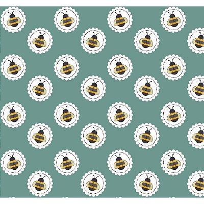 Tecido Tricoline Abelha no Círculo - Fundo Jade - Coleção Bee Buzz - Preço de 50 cm x 150 cm