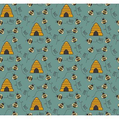 Tecido Tricoline Abelha e Colmeia - Fundo Jade - Coleção Bee Buzz - Preço de 50 cm x 150 cm