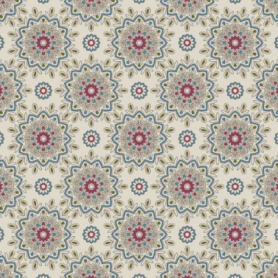 Tecido Tricoline Estampa White Mandala - Fundo Branco - Coleção Luminous By Carol Viana - Preço de 50 cm x 150 cm