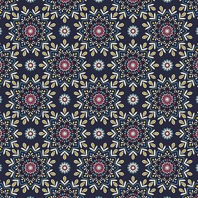 Tecido Tricoline Estampa Navy Mandala - Fundo Azul Marinho - Coleção Luminous By Carol Viana - Preço de 50 cm x 150 cm
