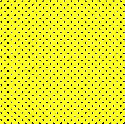 Tecido Tricoline  Estampa Micro Poá Preto c/ Fundo Amarelo - Preço de 50 cm X 150 cm