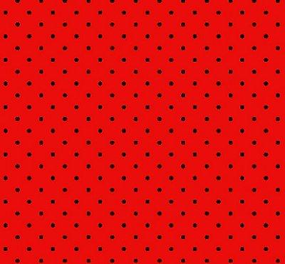 Tecido Tricoline  Estampa Micro Poá Preto c/ Fundo Vermelho - Preço de 50 cm X 150 cm