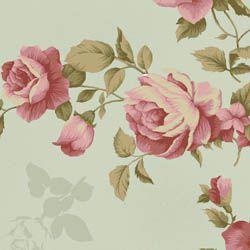 Tecido Tricoline Estampa Rosas Com Textura - Fundo Verde - Coleção Millyta - La Vie En Rose - Preço  de 50 cm X 150 cm