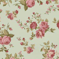 Tecido Tricoline Estampa Rosas Médias - Fundo Verde - Coleção Millyta - La Vie En Rose - Preço de 50 cm X 150 cm