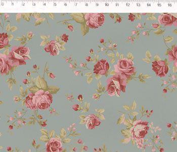 Tecido Tricoline Estampa Rosas Médias - Fundo Cinza - Coleção Millyta - La Vie En Rose - Preço de 50 cm X 150 cm