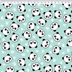 Tecido Tricoline Panda com Patas - Fundo Azul - Coleção Panda - Preço de 50 cm x 150 cm