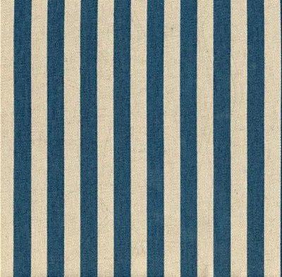 Tecido Blend de Linho para Patchwork - Listrado Coeurs Azul - Coleção Le Petit Atelier - Preço de 50 cm X 140 cm
