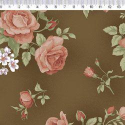 Tecido Tricoline Estampa Rosas - Fundo Marrom - Coleção Millyta - Four Seasons - Preço de 50 cm X 150 cm