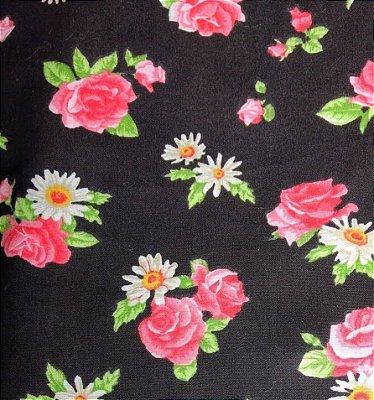 Tecido Tricoline Flowers Rosas - Fundo Preto - Coleção Mirella - Preço de 50 cm X 150 cm