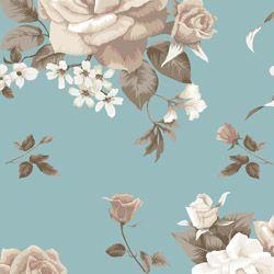 Tecido Tricoline Bouquet de Rosa - Fundo Verde - Preço de 50 cm X 150 cm
