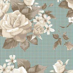 Tecido Tricoline Bouquet de Rosa - Fundo Verde com Textura - Preço de 50 cm X 150 cm