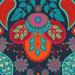 Tecido Tricoline Paisley Crow - Coleção Renata Blanco - Preço de 50 cm X 150 cm