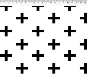 Tecido Tricoline Cruz - Preto e Branco - Coleção Monochrome - Preço de 50 cm X 150 cm