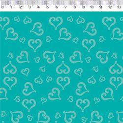 Tecido Tricoline Coração - Fundo Tiffany - Coleção Baltimore - Por Tais Favero - Preço de 50cm x 150cm