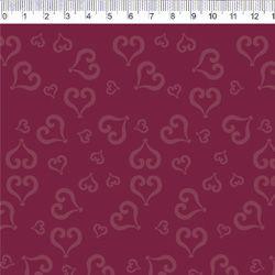 Tecido Tricoline Coração - Fundo Vermelho Carmim - Coleção Baltimore - Por Tais Favero - Preço de 50cm x 150cm