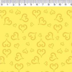 Tecido Tricoline Coração - Fundo Amarelo - Coleção Baltimore - Por Tais Favero - Preço de 50cm x 150cm