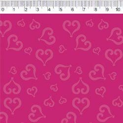 Tecido Tricoline Coração - Fundo Rosa Pink - Coleção Baltimore - Por Tais Favero - Preço de 50cm x 150cm
