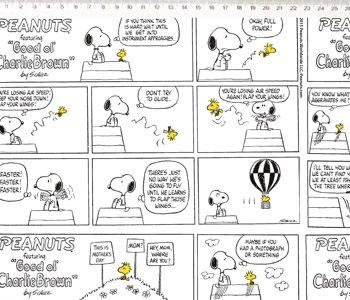 Tecido Tricoline Infantil Snoopy Quadrinhos - Fundo Branco - Preço de 50 cm x 150 cm