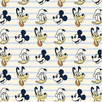 Tecido Tricoline do Mickey, Donald e Pluto - Coleção Disney - Preço de 50 cm x 150 cm
