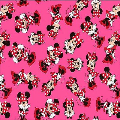 Tecido Tricoline Minnie Mouse - Coleção Disney - Fundo Rosa - Preço de 50 cm x 150 cm
