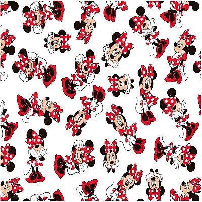 Tecido Tricoline Minnie Mouse - Coleção Disney - Fundo Branco - Preço de 50 cm x 150 cm