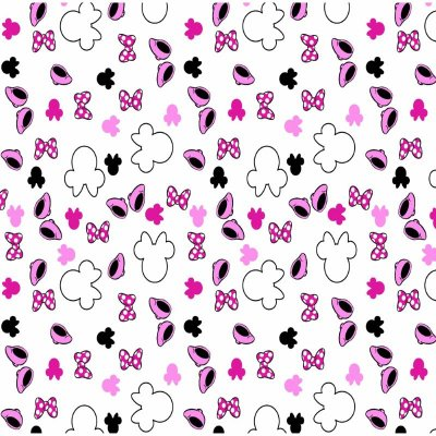 Tecido Tricoline Minnie Mouse com Lacinho Rosa - Coleção Disney - Preço de 50 cm x 150 cm