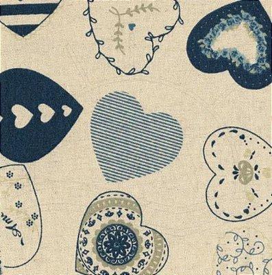 Tecido de Linho para Patchwork Coração - Coeurs Azul - Coleção Le Petit Atelier - Preço de 50 cm X 140 cm