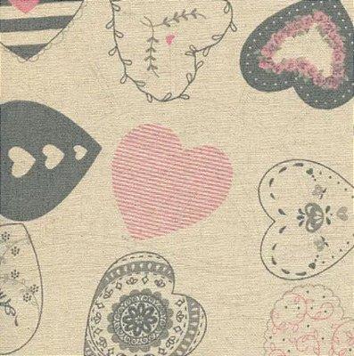 Tecido de Linho para Patchwork Coração - Coeurs Rosê - Coleção Le Petit Atelier - Preço de 50 cm X 140 cm