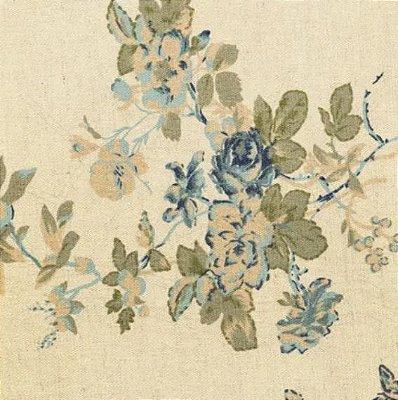 Tecido de Linho para Patchwork - Floral Azul - Coleção Rose Garden - Preço de 50 cm X 140 cm