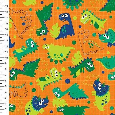 Tecido Digital Dinossauros - Funco Laranja - Preço de 50 cm x 150 cm