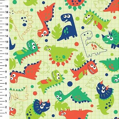Tecido Digital Dinossauros - Funco Verde Claro - Preço de 50 cm x 150 cm