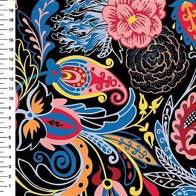 Tecido Digital Cashmere Floral - Fundo Preto  - Preço de 50cm x 150cm