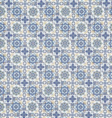 Tecido Tricoline com Estampa de Azulejo Português - Preço de 50 cm X 150 cm