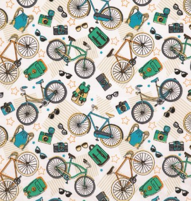 Tecido Tricoline com Estampa de Bicicleta Retrô- Preço de 50 cm X 150 cm
