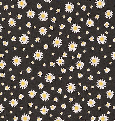 Tecido Tricoline com Estampa de Margaridas - Fundo Preto - Preço de 50 cm X 150 cm