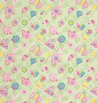 Tecido Tricoline com Xícaras, Bules, Cupcake - Fundo Verde - Preço de 50 cm X 150 cm